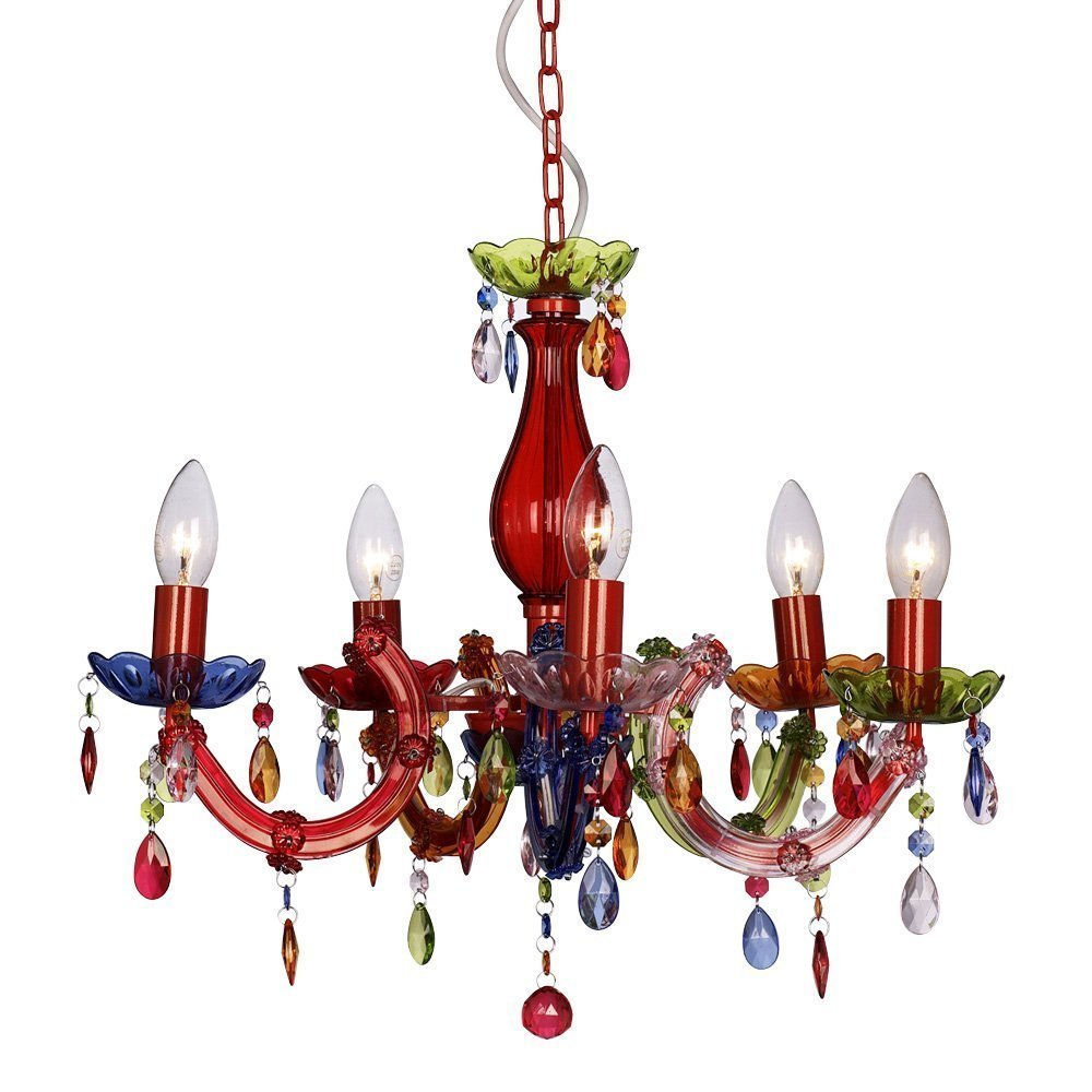 Modern Gypsy Multi Coloured 5 Way Marie Therese Ceiling Light Chandelier Co Uk Lighting