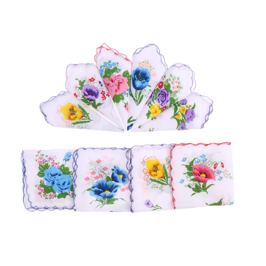 Baoblaze 10pc/set Womens White Handkerchief Hankies Pocket Hanky Coloured Floral GIFT