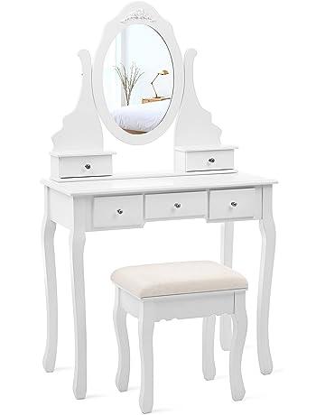 SONGMICS Coiffeuse, Table de Maquillage, avec 1 Miroir, 5 tiroirs et 1  Tabouret c9e9a8ce628a