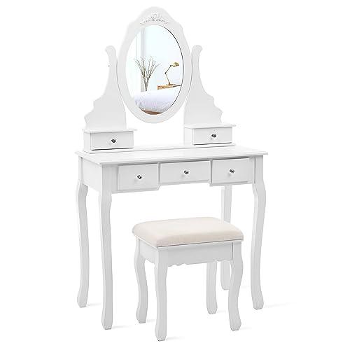 songmics coiffeuse table de maquillage avec 1 miroir 5 tiroirs et 1 tabouret