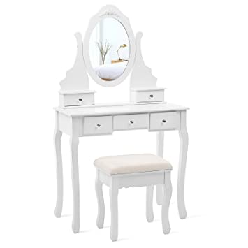 SONGMICS Vanity Set With Mirror And Stool Make Up Dressing Table 5 Drawers  With 2
