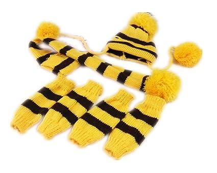 b9ebad1eb91 Fully 3pcs set Pets Winter Warm Stripes Knitted Scarf Hat Leg Warmer Shawl Puppy  Cat