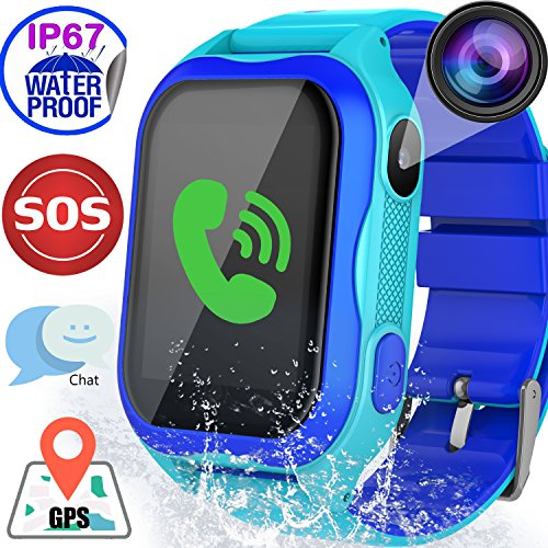 Kids Smart Watch WiFi GPS Tracker IP67 Waterproof with SOS SIM Card Slot Camera for Boys Girls Back To School Smartwatch Phone Watch Game Watch Electronic Learning Toys Birthday Holiday Gift, Blue