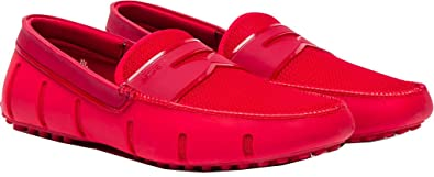 4c0fe684e55 SWIMS Mens Penny Loafer Driver Red Shine Double Thread Size 8