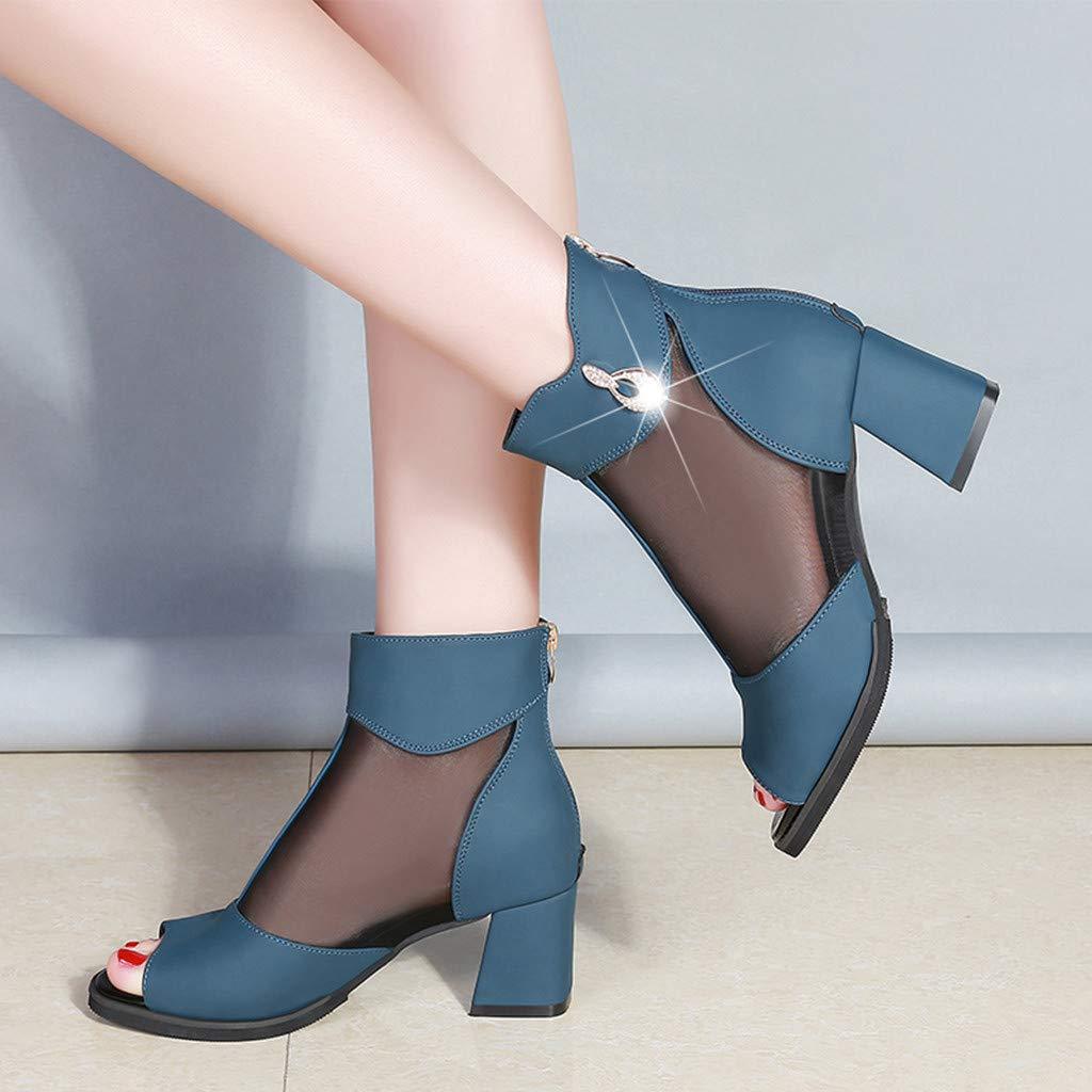Women Ladies Fashion Mesh Peep Toe Zip Square Heel Causal Solid Shoes Sandals