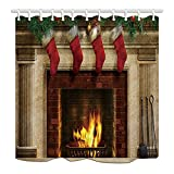 NYMB Christmas Bath Curtain, Tree Fireplace with Xmas Sock for Kids, Polyester Fabric Waterproof Shower Curtain for Bathroom, 69X75in, Shower Curtains Hooks Included