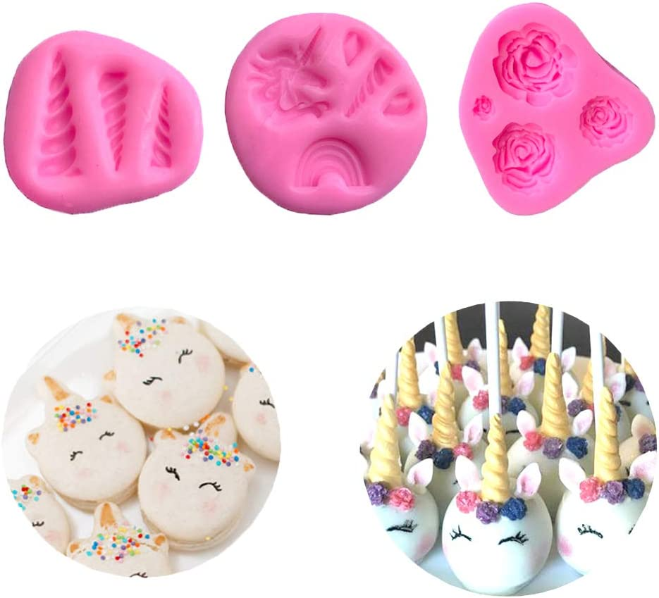 3PCS Unicorn Mold Unicorn Horns Ears Rainbow Flowers Unicorn Silicone Mold Set Cupcake Toppers Fondant Chocolate Mold