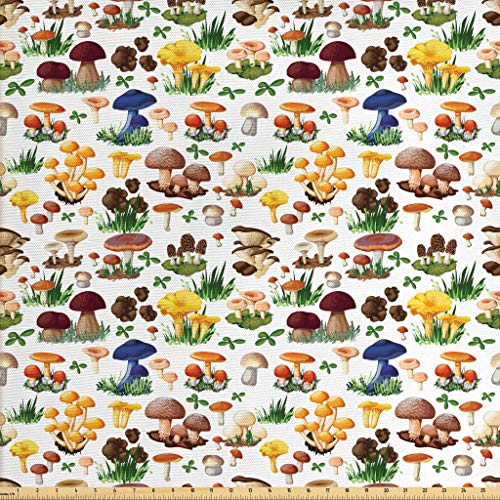 Ambesonne Mushroom Fabric by The Yard, Pattern with Types of Mushrooms Wild Species Organic Natural Food Garden Theme, Decorative Fabric for Upholstery and Home Accents, 1 Yard, Multicolor