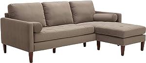 """Amazon Brand – Rivet Aiden Mid-Century Modern Tufted Velvet Reversible Sectional Sofa, 86""""W, Otter Grey"""