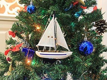 blue sailboat christmas tree ornament 9 model sailing boat nautical orname - Christmas Tree Toy Decorations