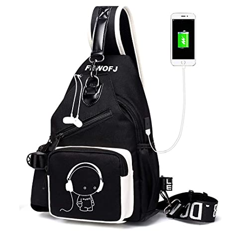Amazon.com  Sling Bag with USB Charger Port   Headphone Hole 89d1730e2d69d