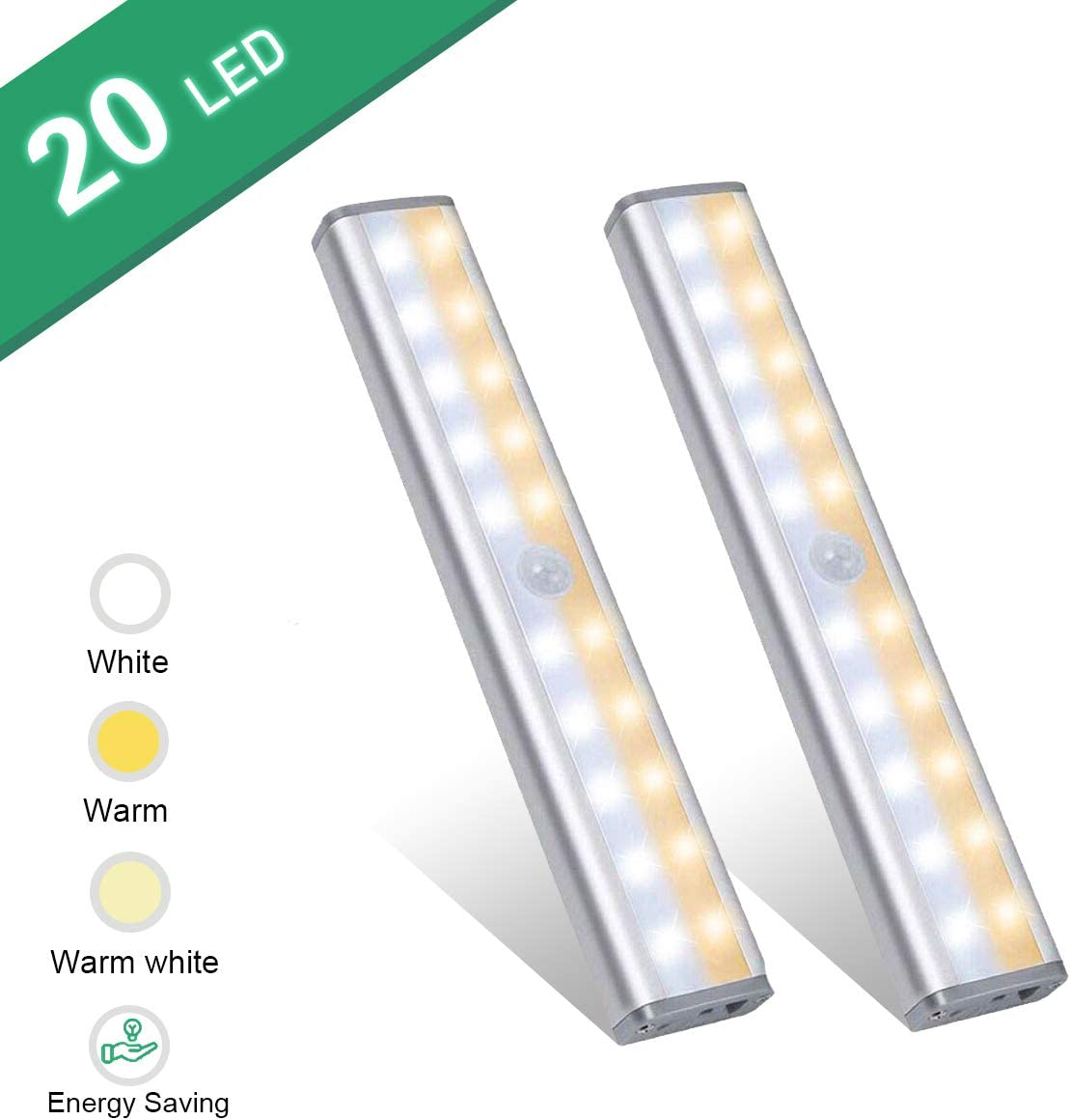 Under Cabinet Lighting,Vikano 20 LED Motion Sensor Closet Light Rechargeable,3 Color Mode Wireless Battery Operated Lights Bar for Kitchen Stair Hallway Under Counter Lighting Stick on Lights 2 Pack