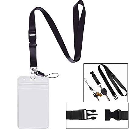02358d7fd9d5 1 Pack ID Badge Holder with Black Lanyards Neck Strap Detachable Buckle  Enhanced Breakaway Quick Release Safety Lanyard with Vertical Name Tag Card  ...