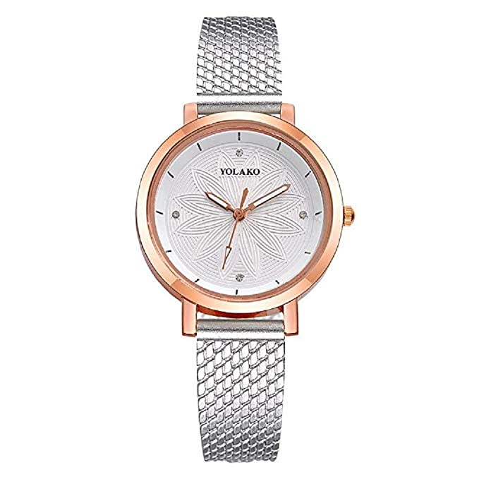 Amazon.com: Windoson Womens Quartz Watches Ladies Flower Simple Style Round Dial Leather Band Casual Elegant Alloy Analog Wrist Watch Teen Girls Fashion ...
