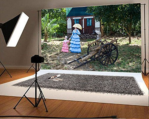Laeacco 7x5FT Vinyl Backdrop Slave Unloading Cart Photography Background Memorial theme Historical Shabby Cart Princess Statue Cottage Wood Torical Trees Background Photo or TV Shoot Studio (Memorial Cottage)