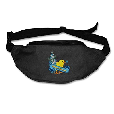 Janeither Unisex Pockets Happy Easter With Bird Fanny Pack Waist/Bum Bag Adjustable Belt Bags Running Cycling Fishing Sport Waist Bags Black
