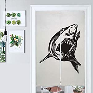 Homenon Hanging Japanese Noren Curtain Ig Aggressive Shark with Open Mouth Custom Made Curtain Doorway Panel Room Dividers for Partition Home Restaurant W33.5 x L59 №045923