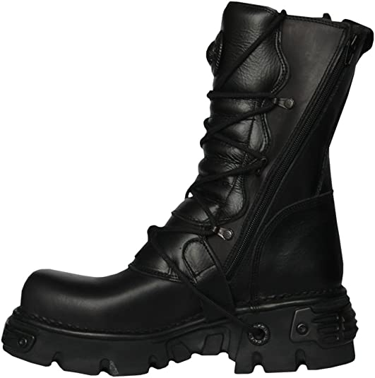 NEWROCK New Rock 391 S18 Black Metallic Reactor Goth Emo Punk Biker Unisex Boots