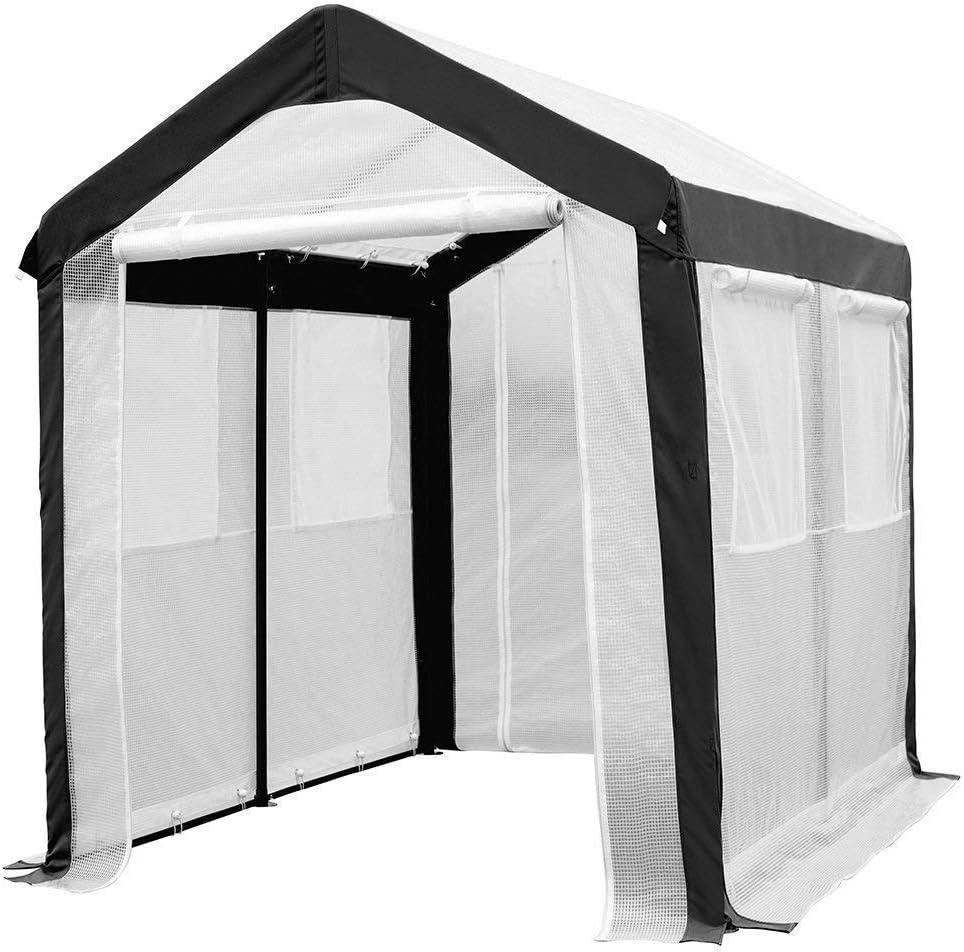 Invernadero de aluminio Invernadero Caseta de jardín Vivero de vegetación  SORARA   2 x 2, 50 m   42 kg   Ventanas, mosquitero, puertas   Blanco / PE transparente: Amazon.es: Jardín