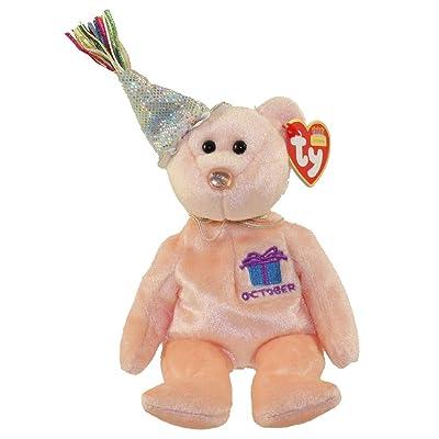 Ty Beanie Baby October Teddy Happy Birthday Bear w Hat: Toys & Games