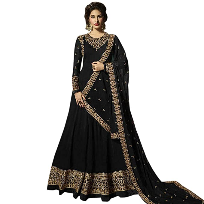 36ed3146ee AnK Women s Georgette Long Anarkali Semi Stitched Salwar Suit With Dupatta  (Black  Free Size