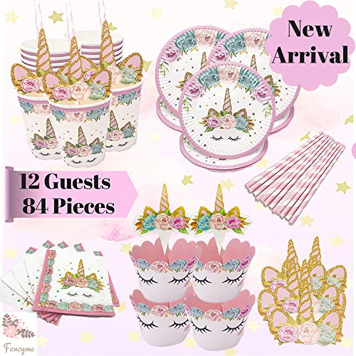 Fancyme Unicorn Birthday Party Supplies Set Decorations – 84-Piece Perfect Birthday Girl's 1st Bday Magical Unicorn Theme Party. Serves 12 - Unicorn Plates, Cups, Napkins, Straws/Cupcake Decoration from Fancyme