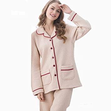 67ae5dc555 HONGLIAN Pajamas Autumn and Winter Couples Thick Cotton Pajamas Men and  Women Long Sleeve Suit Home