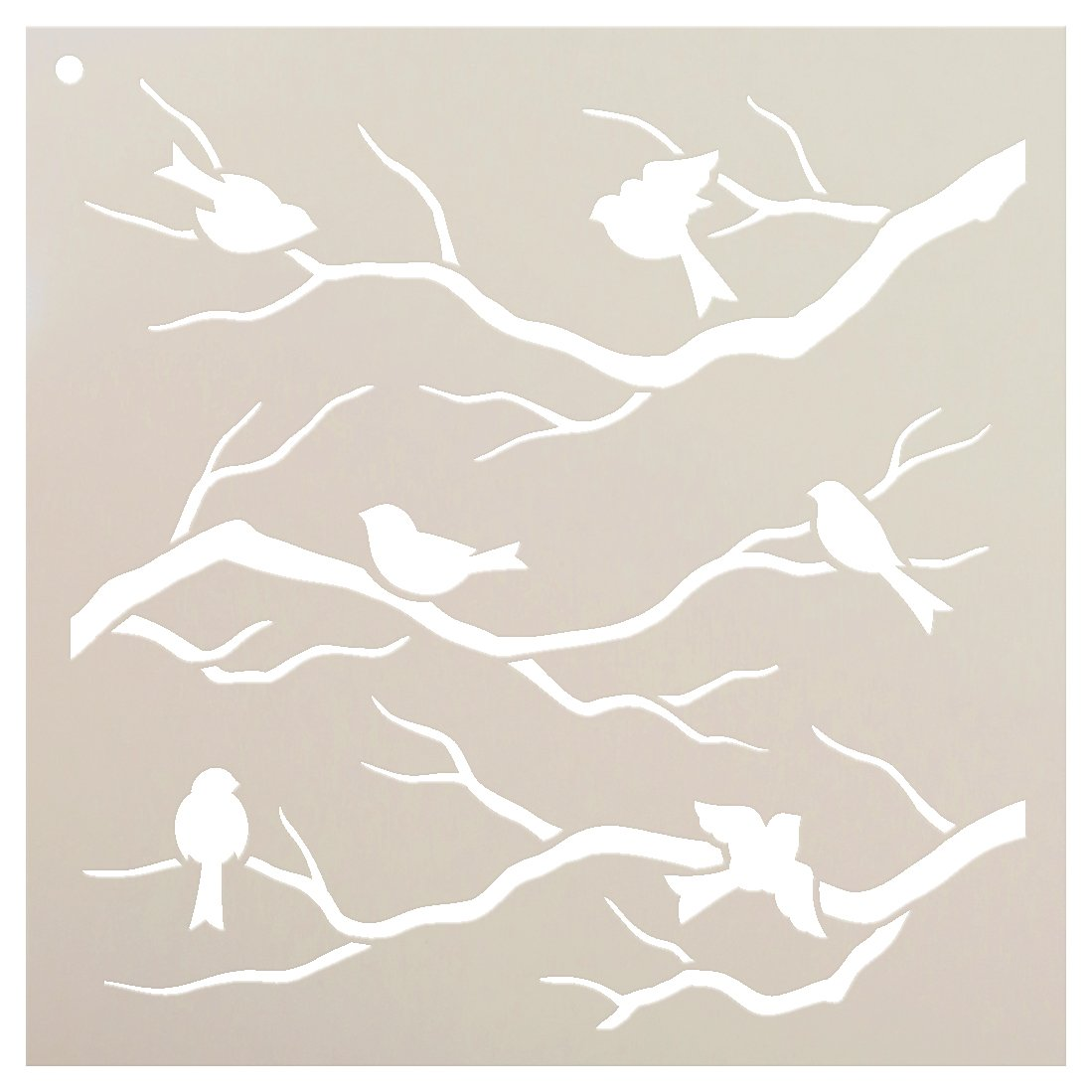"Birds & Branches Stencil by StudioR12 | Reusable Mylar Template | Crafters and Sign Makers can Paint DIY Nature Home Decor - Furniture - Scrapbook- Cards - Choose Size (9"" x 9"")"