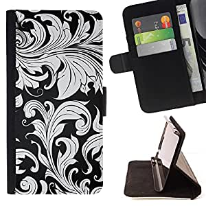 Momo Phone Case / Flip Funda de Cuero Case Cover - Wallpaper Planta Gris Hojas Dise?o de Interiores - LG G4c Curve H522Y (G4 MINI), NOT FOR LG G4
