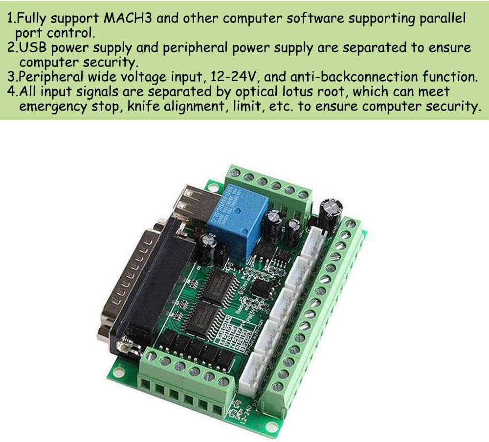 KOOBOOK 1Pcs 5 Axis CNC Breakout Board Mach3 Interface Board with Optical Coupler for MACH3 Stepper Motor Driver(With USB Cable)