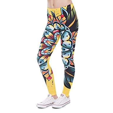 Pantalons De Yoga Nouvelle Mode Creative Fashion Élastique Leggings Femmes  Design Leggins Imprimé Pantalon Tatouage Fleur Legging Taille Haute Legins  ... 9bd849dd725