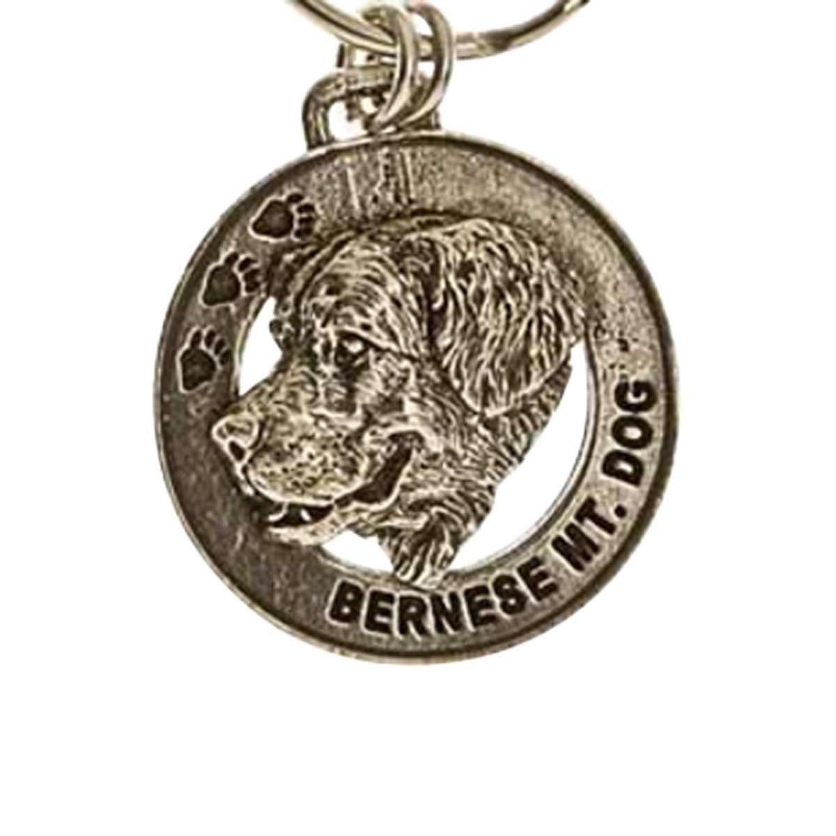 Creative Pewter Designs, Pewter Bernese Mountain Dog Key Chain, Antiqued Finish, DK024
