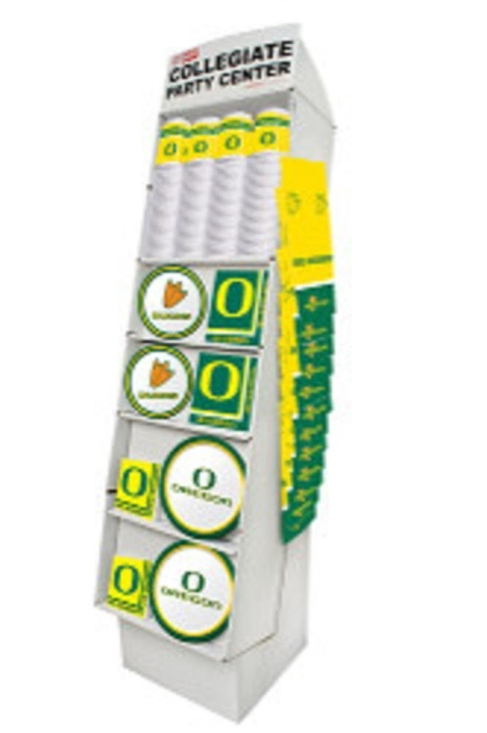 Club Pack of 126 Green, Yellow and White University of Oregon Ducks Floor Displays 63''