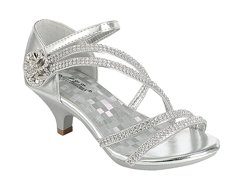 Fabulous Little Girls White Silver Gold Dress Shoes Rhinestones Heels Sandals Angel 48K