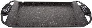 Pradel Excellence 52402M Plancha-Grillplatte in Stein-Optik, 48 x 28 x 4,7 cm