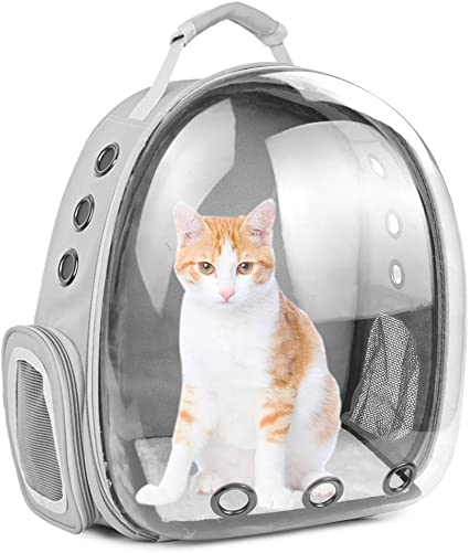 SSAWcasa Cat Backpack Carrier Large,Transparent Pet Backpack Bubble,Portable Ventilated Carry Bag for Cat Small Dog,Airline Approved Waterproof Cat Backpack Carrier for Hiking Outdoor
