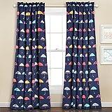 Lush Decor 16T000555 Umbrella Room Darkening Window Panel Curtain Set, 84″ x 52″ + 2″ Header, Navy For Sale