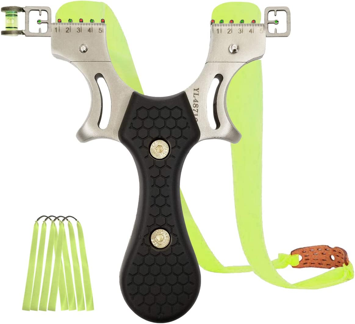 Luniquz Wrist Rocket Slingshot, Metal Wrist Sling Shot Catapult of High Velocity, Includes 4 Rubber Bands 2 Sights for Hunting,Fishing,Fowling