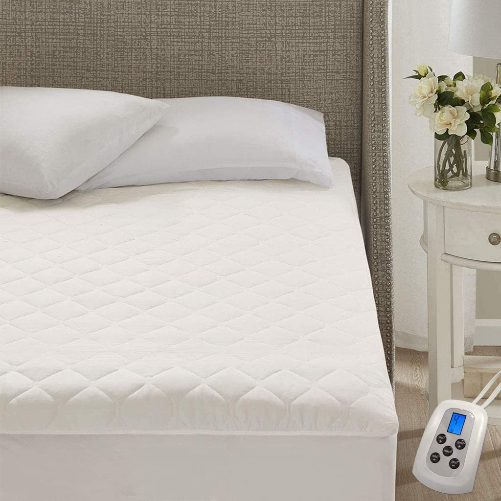 MARQUESS Cotton Blend Heated Mattress Pad with Single Controller,10 Heating Levels Fast Heating (Full, White)
