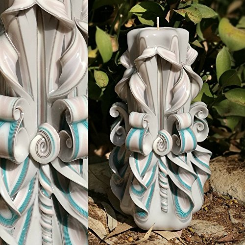 - Hand Carved Candles - Sea Shell Ivory Blue Sky Maple - House Decoration Handmade Gift - EveCandles