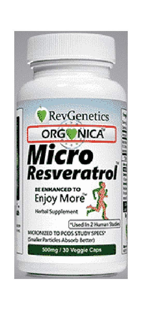 RevGenetics ORGONICA™: MicroResveratrol™ Using EU Organic Resveratrol (500mg / 30 Veggie Capsules)