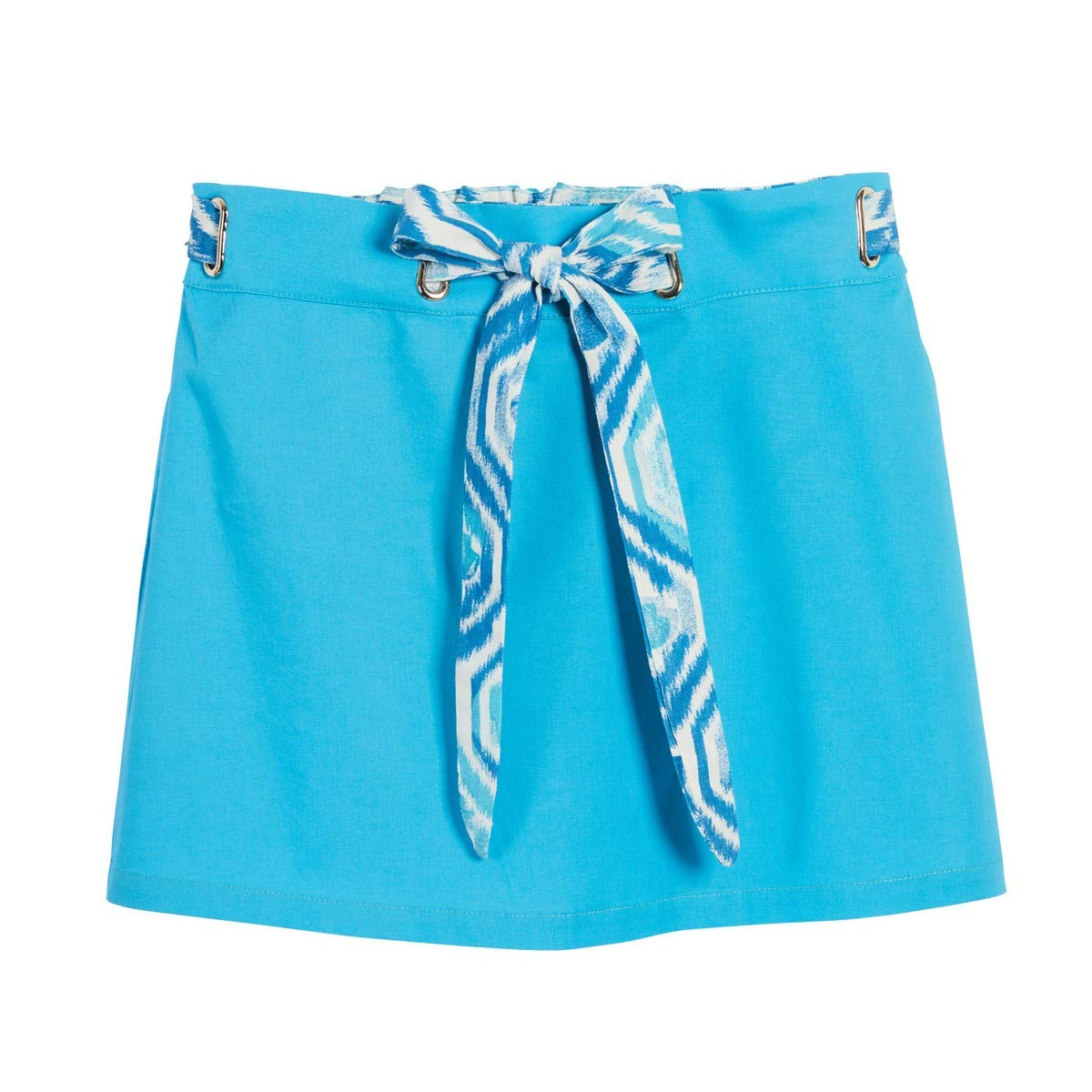 Beachcombers Girls Linen//Cotton Tie Front Skirt with Elastic Waist Band Blue Extra Large
