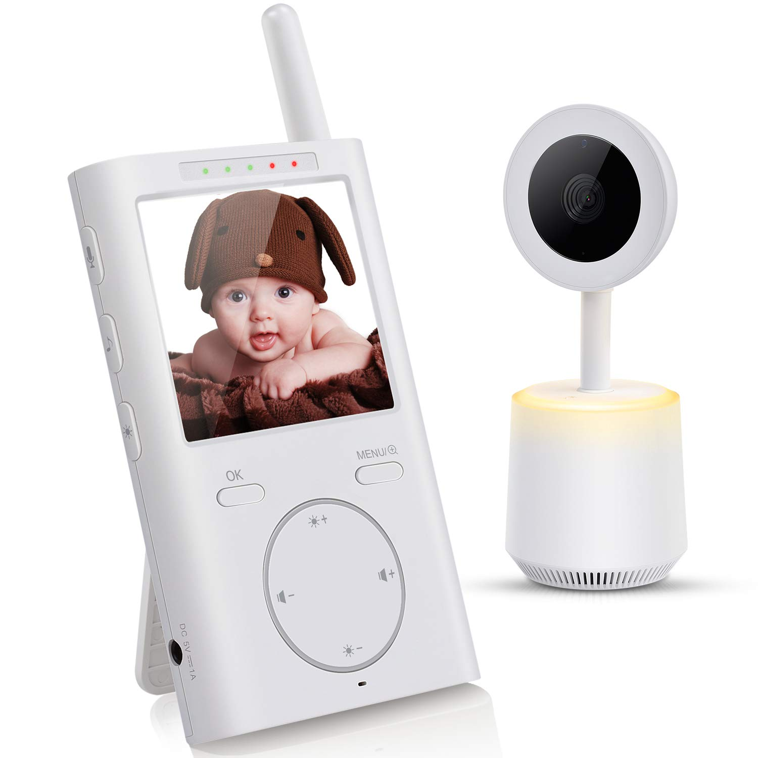 Baby Monitor, Letsfit 2.4GHz Wireless Video Baby Monitor with Camera and Audio, Night Light, White Noise, 8 Music Lullabies, VOX, Infrared Night Vision Baby Camera, 2 Way Talk Back with Carry Clip