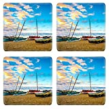 MSD Natural Rubber Square Coasters Set of 4 IMAGE of water ship sea boat sky