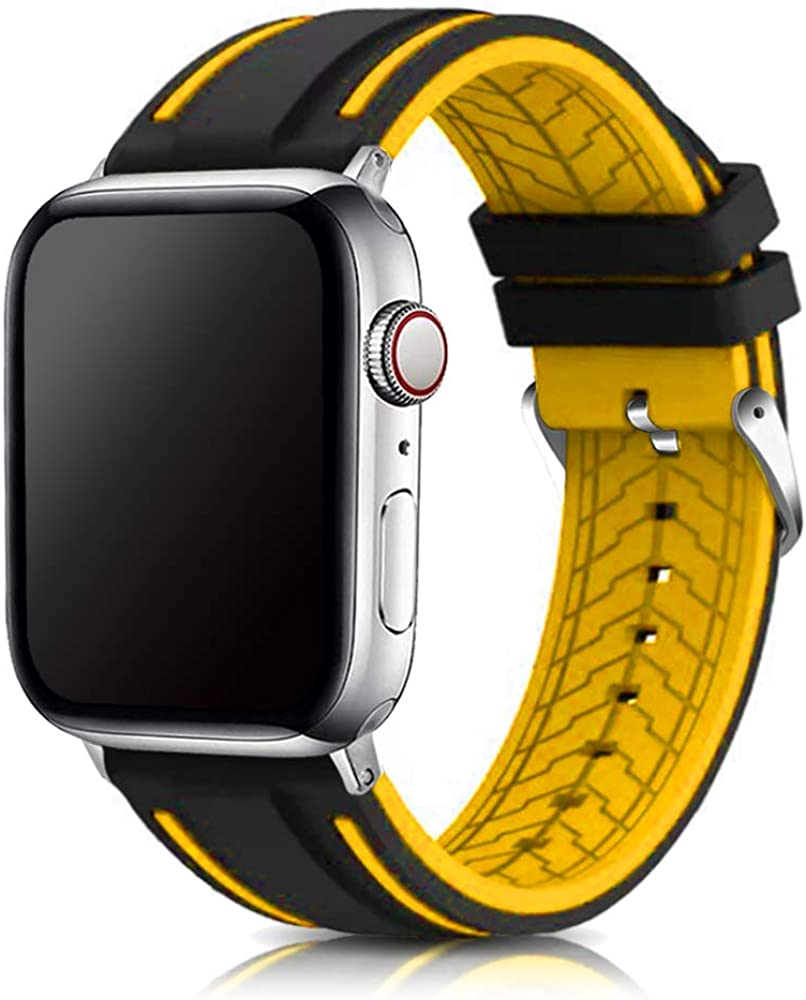 Compatible with Apple Watch Bands 38mm 42mm 40mm 44mm Silicone Divers Model Replacement Rubber Sport Watch Strap for iWatch Series 6/SE/5/4/3/2/1 Bicolor for Men and Women