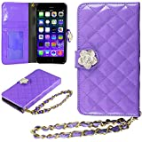 iPhone 6 Case, HHI iPhone 6 Quilted Purse Wallet Case PURPLE with Crystal Flower Bling and Hand Strap (Compatible with 4.7 iPhone 6) (Package include a HandHelditems Sketch Stylus Pen)