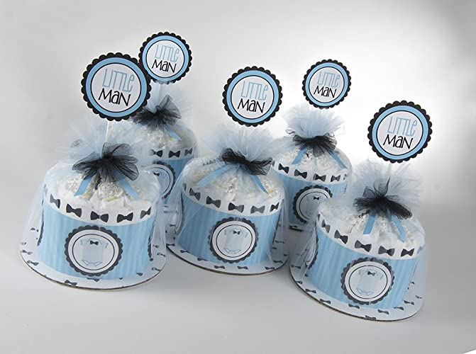 Elegant Five U0026quot;Little Manu0026quot; Mini Diaper Cakes. Bow Tie U0026 Onsies Theme.
