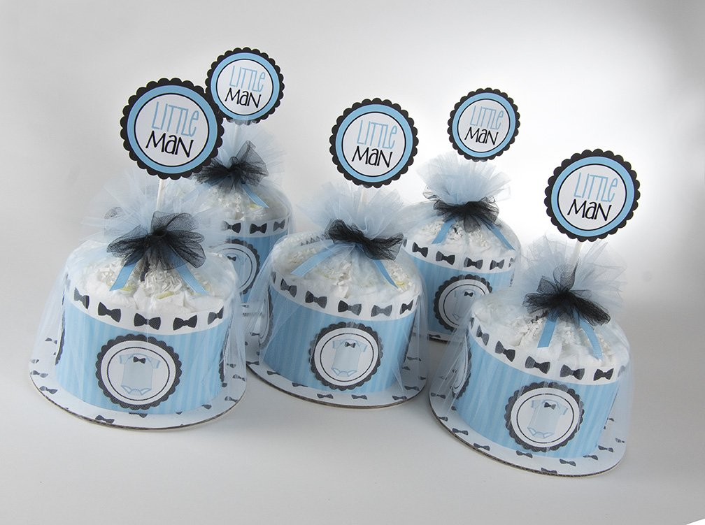 Five ''Little Man'' Mini Diaper Cakes. Bow Tie & Onsies Theme. Baby Shower Centerpieces.