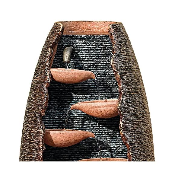 "John Timberland Outdoor Floor Water Fountain 35"" High Cascading Cut-Away Waterfall for Yard Garden Lawn - 35"" high x 12"" wide and deep. Weighs 25 lbs. Tall rustic modern garden fountain with 7 levels of water flow. By John Timberland. Built-in LED light in the bottom water basin. - patio, outdoor-decor, fountains - 619UNdlhkeL. SS570  -"