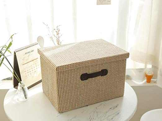linyuyao Caja de Almacenamiento de Dormitorio Caja de Almacenamiento de Tela cartón doméstico Dentro de Caja de Almacenamiento con Tapa Engrosada Grande @ Color primario: Amazon.es: Hogar